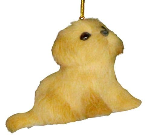 Faux Fur Puppies Decoration - Golden
